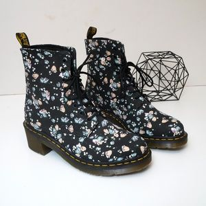 Dr. Martens Shoes - Dr. Martens Lynn Canvas Floral Heeled Ankle Boot